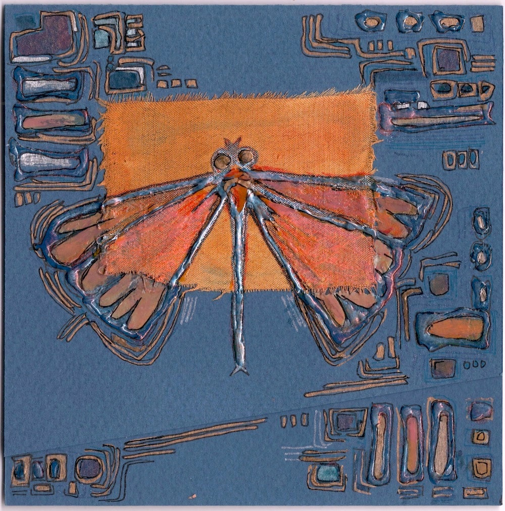 Orange butterfly on a blue background  -  blank greeting card for any occasion