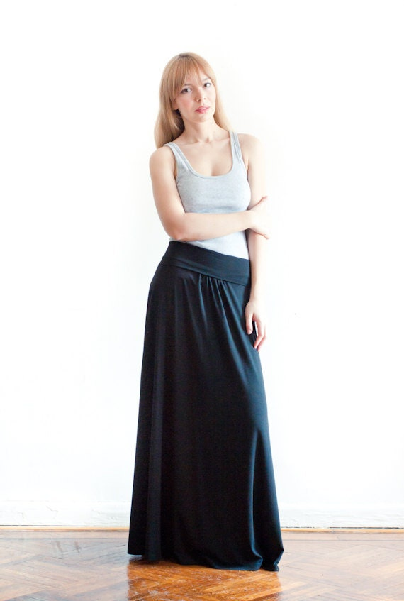 Black Cotton Jersey Long Skirt - A Must Have This Season - Made-To-Measure
