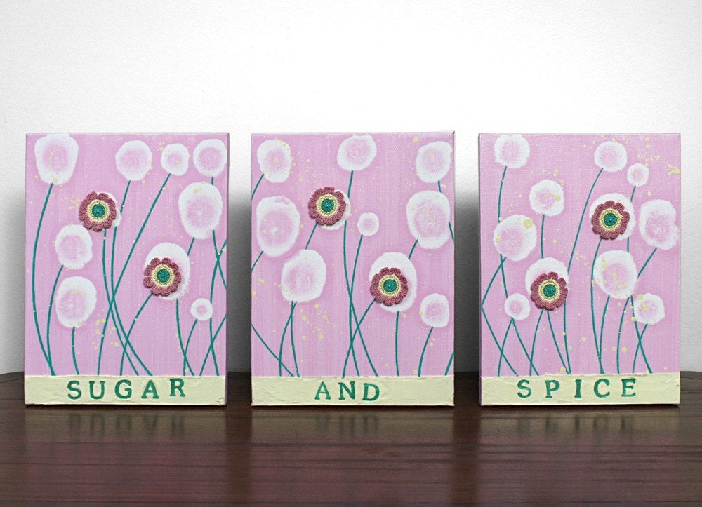 Розовые цветы картина - текстурированные картина холст, акрил Триптих - розовый и зеленый нефрит Декор питомник - MEDIUM 29X12