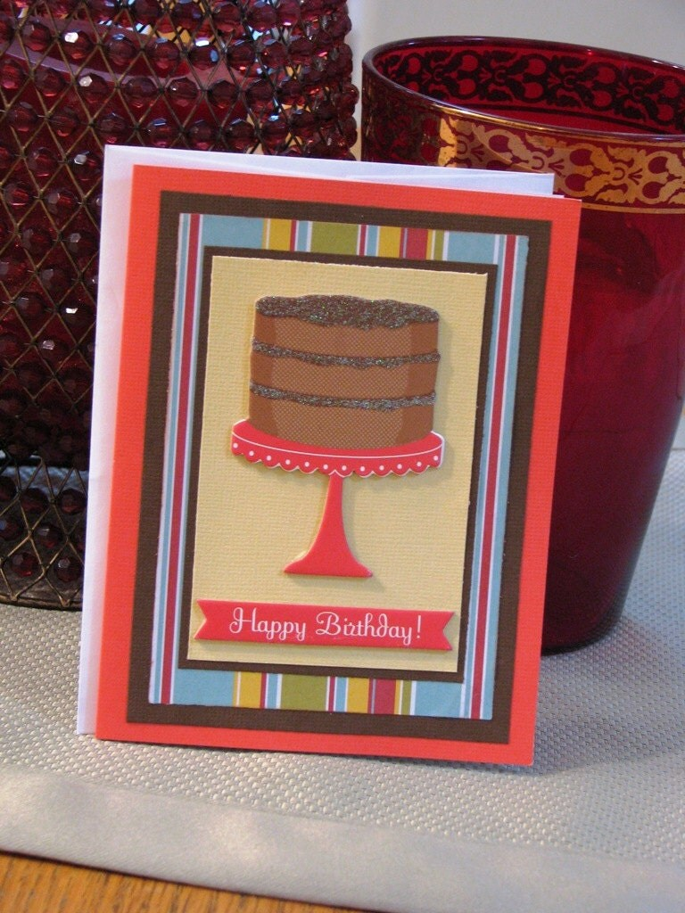 Birthday card with cake-red