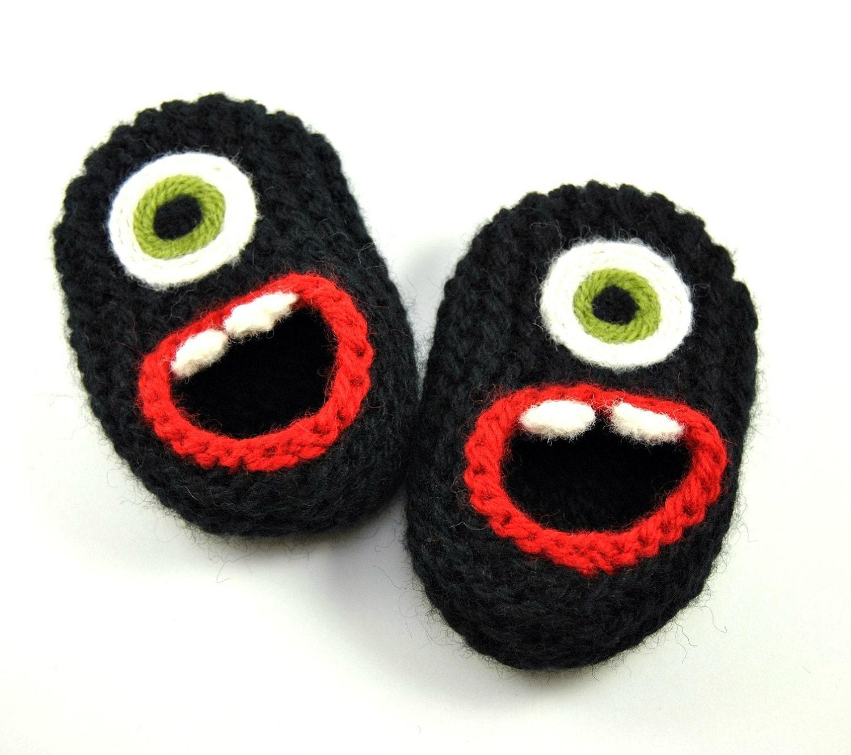 Wool Baby Monster Slippers