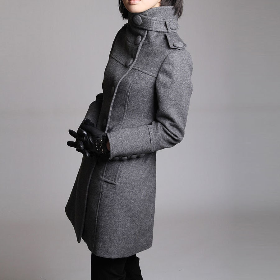 Winter Gray coat/ grey overcoat with long sleeves/ maxi coat with oversize button and pockets 70% wool,Size XS,S,M,L (J080) - JulyS
