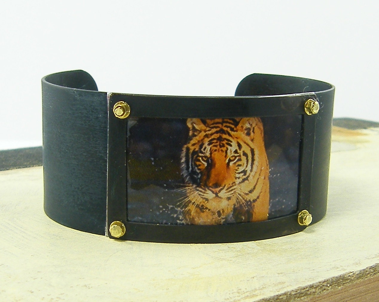 Tiger Cuff Bracelet - Orange Brown Black Big Cat Jungle Animal Picture Bold Statement Jewelry Photo Cuff - CharleneSevier