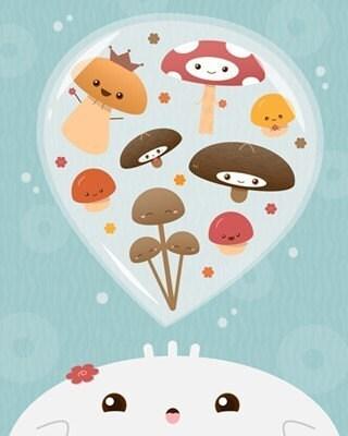 Mushroom Spores Print
