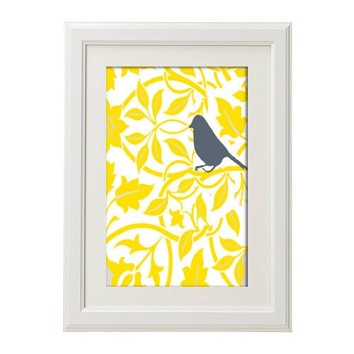 Spring Yellow Bird Vintage Modern inspire Art Print  - Yellow Grey 18x24 Print (Unframed) - antinoropixelprints