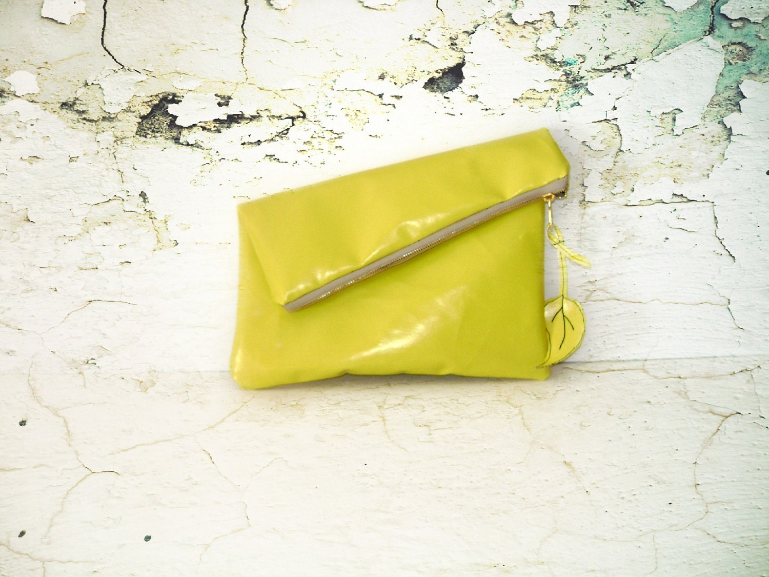 Leather yellow Clutch -with Brass Zipper Closure in Butter Yellow - hibbe