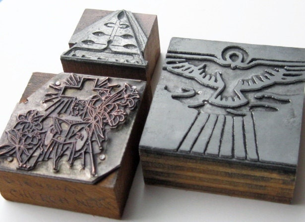 Vintage Letterpress Religious Print Blocks: Easter Symbols, Three Church Printer Blocks - yellowcabvintage