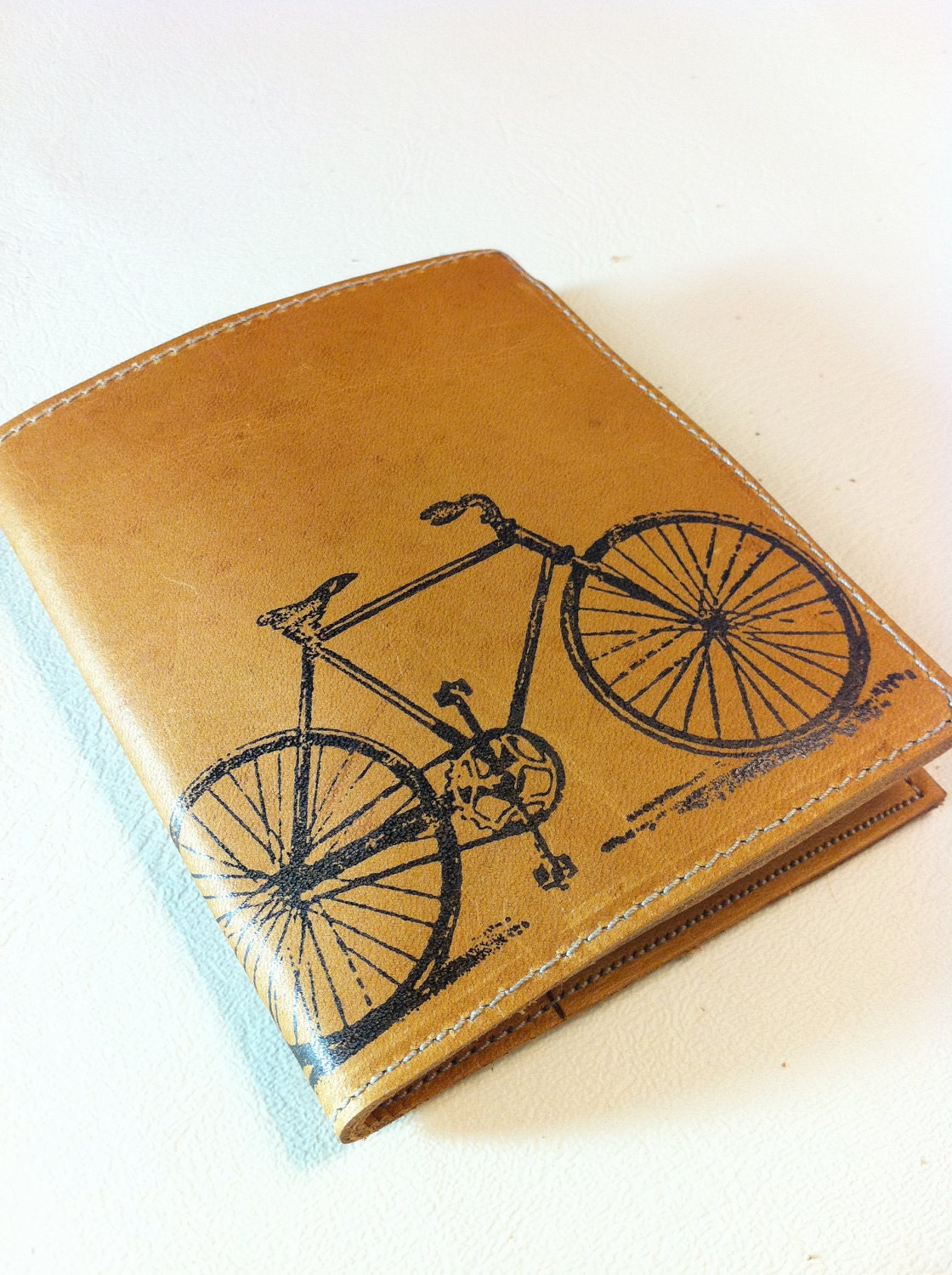 leather billfold wallet men with card slots custom for you bike - inblue