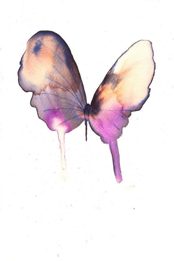 gold grey and purple butterfly original watercolour and ink painting - metamorphosing