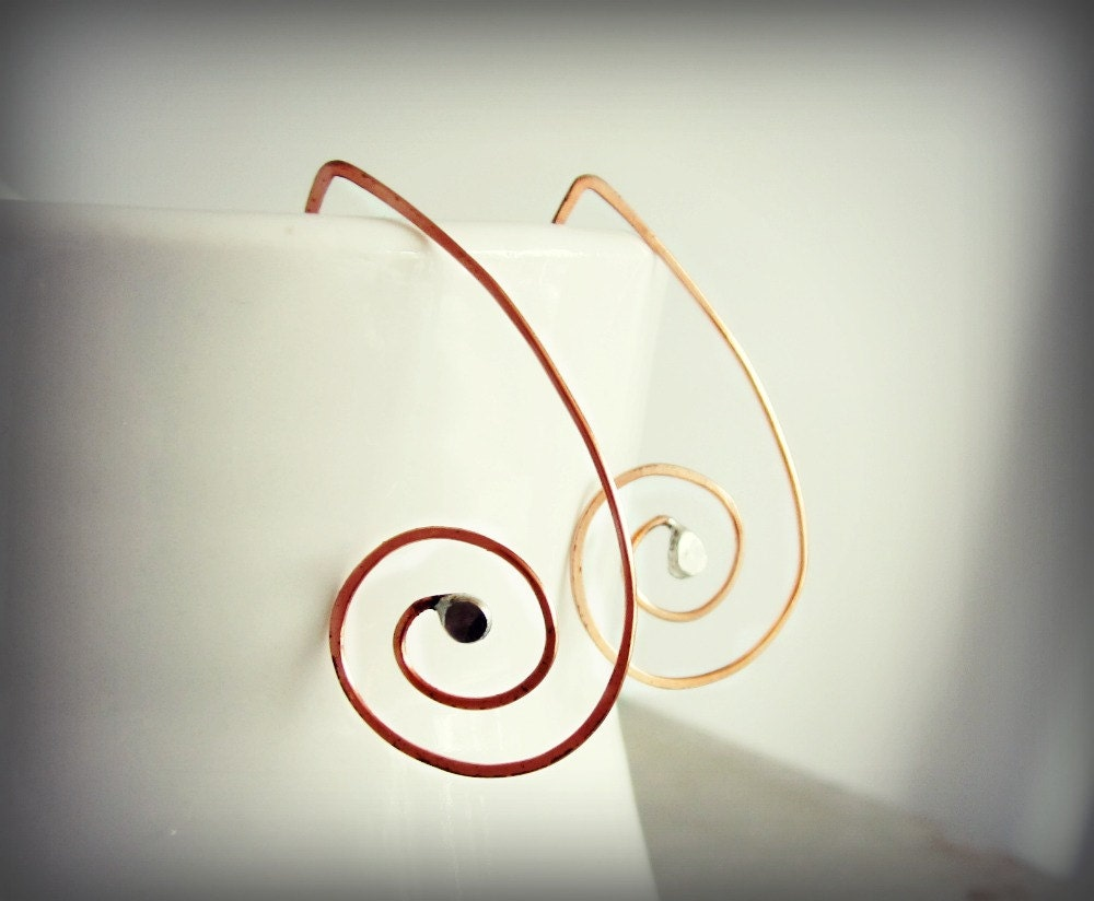 Swirl Copper Earrings // Soldered Hoops