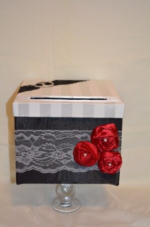 Card Box The MirandaBlack Satin Wedding Card box with lace