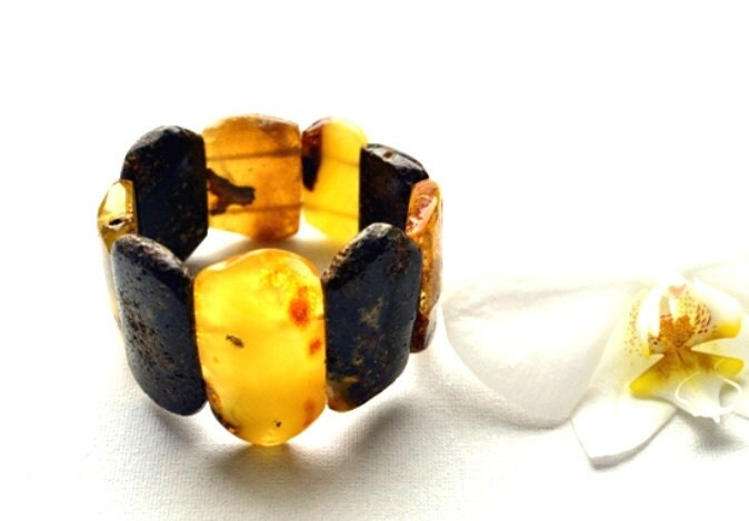 Natural Amber Bracelet, Baltic Amber Jewelry, Raw Amber, Honey, Yellow, Brown, Lemon Amber, Winter Fashion - KARUBA