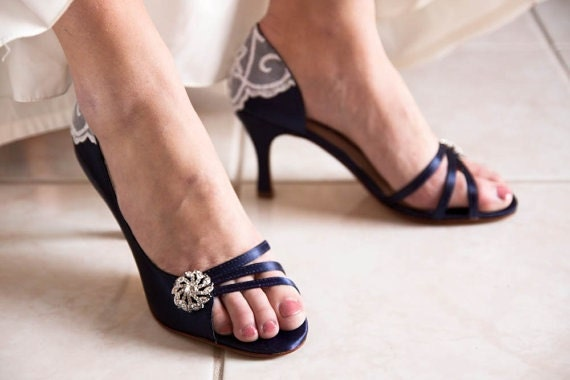 Ready to Ship Size 7.5 Something Blue satin and vintage lace wedding shoes embellished with vintage lace and crystal brooch