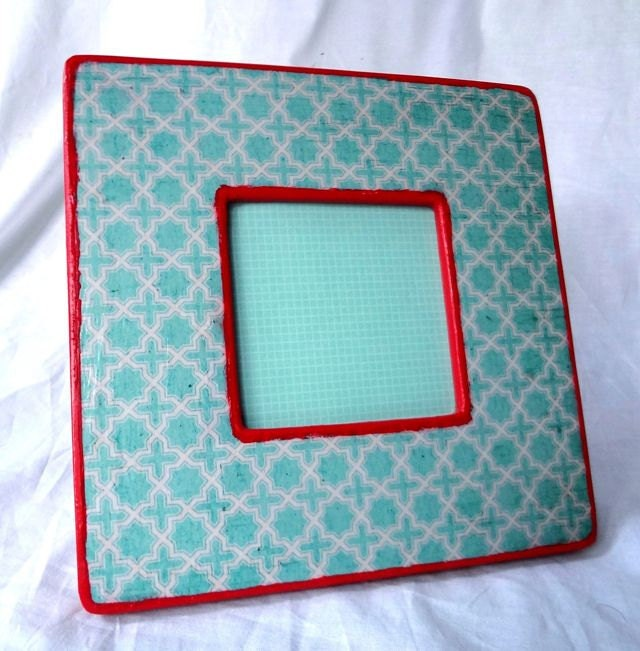 Turquoise and Red Picture Frame