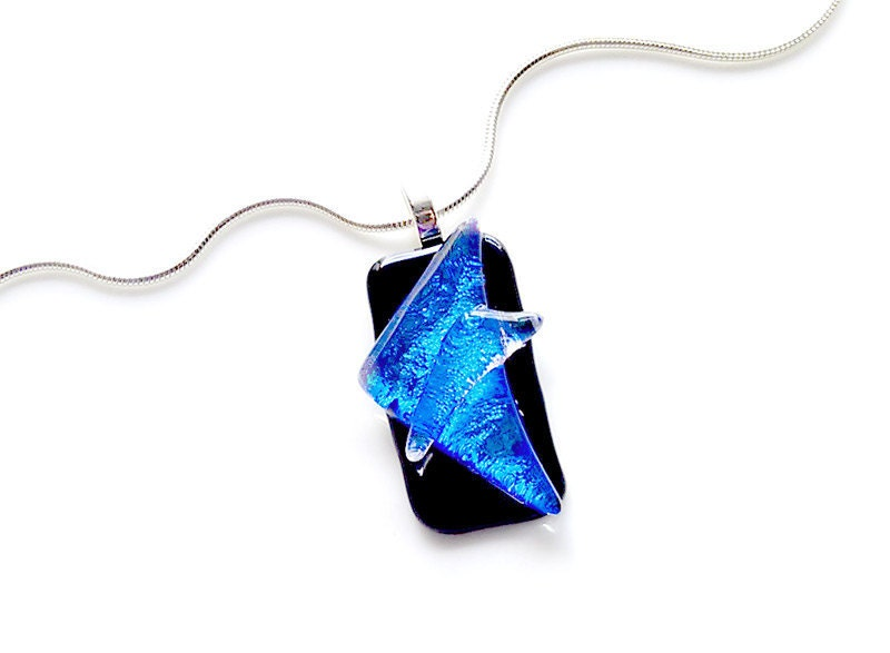 Cobalt Blue Necklace - Dichroic Glass Triangles
