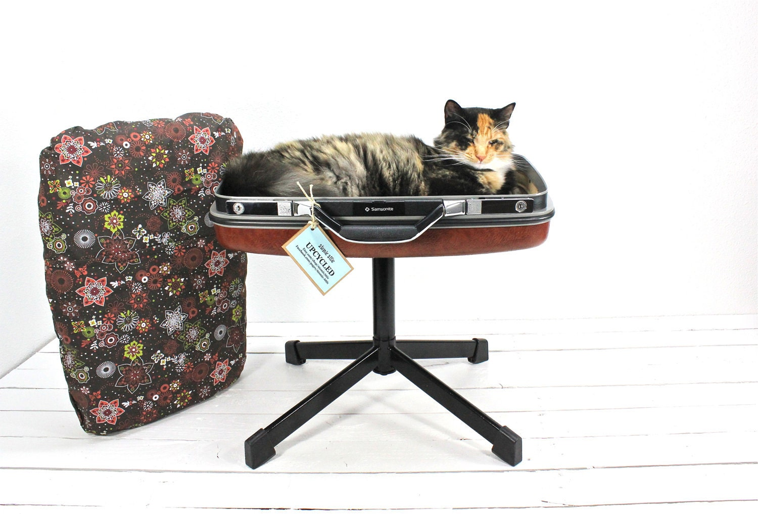 Upcycled Suitcase Pet Bed with Pedestal Base