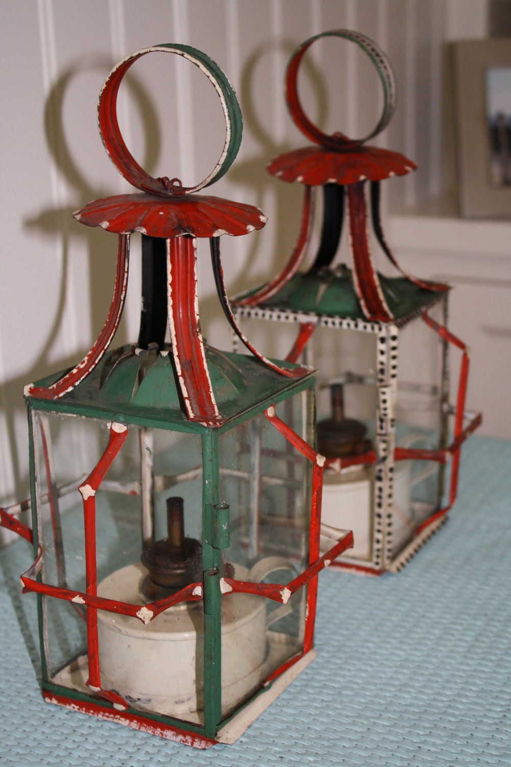 Chinoiserie / Chinese / Asian vintage oil lanterns painted tole with bamboo like brackets red and aqua
