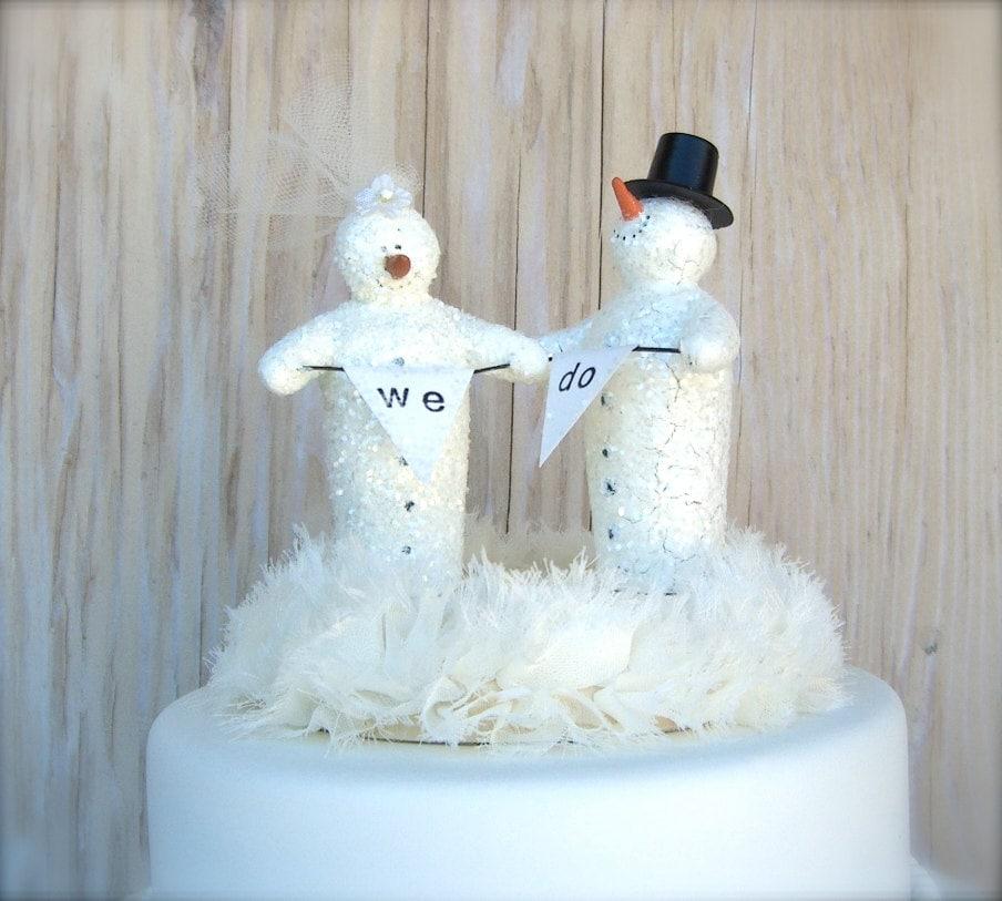 Wedding Cake Topper , Winter Wedding , Christmas Snowmen