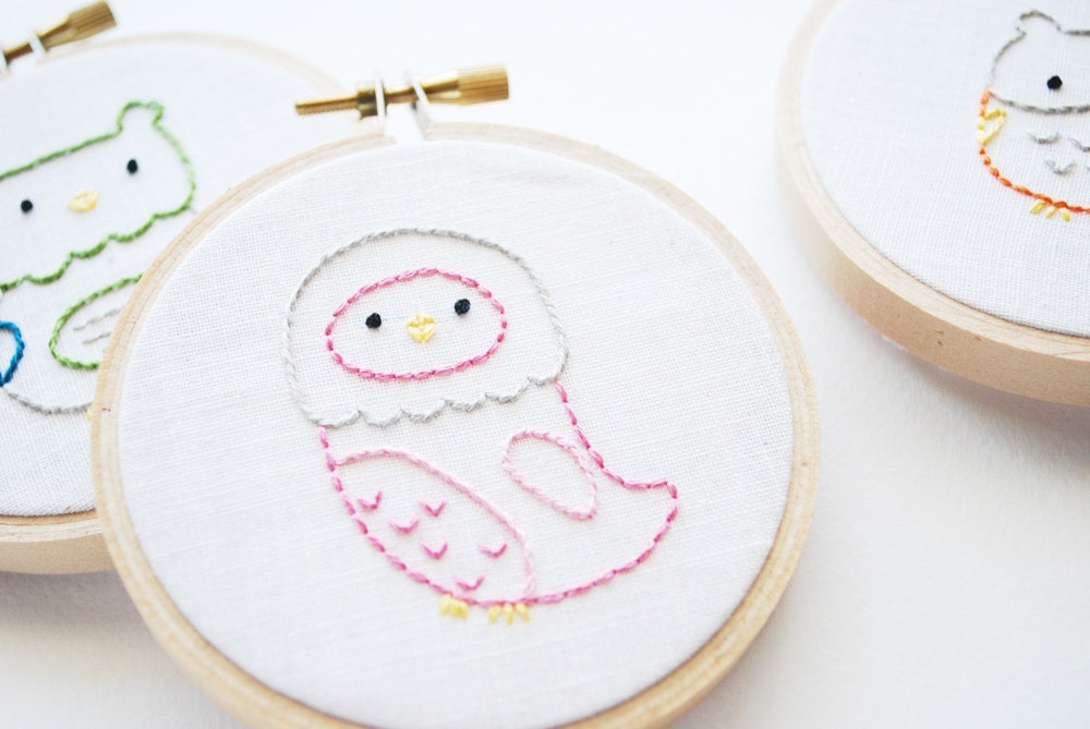 Little Owls - Bird Mini Embroidery Pattern