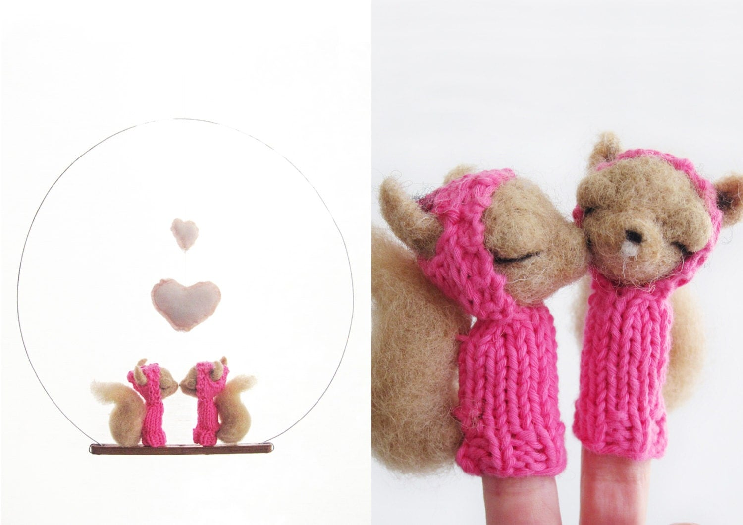 Romantic VALENTINES DAY GIFT, Finger Puppet Mobile, Needle Felted Squirrel Valentines Kissing, Home Decor and a Soft Eco Friendly Toy - LazyAnimals