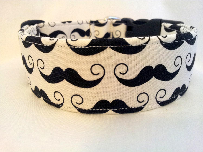 Mustache Dog Collars- Black & White and Multi-Color