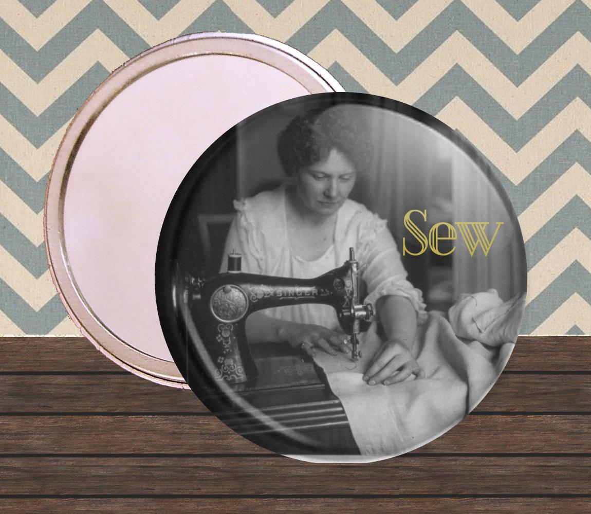 Vintage Seamstress 2.25 inch compact mirror