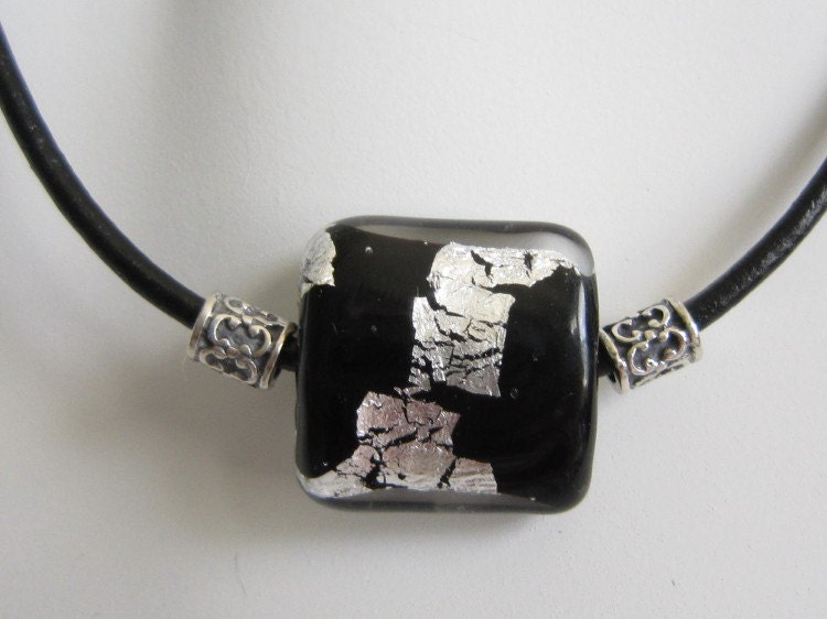 Black Leather Cord Black Silver Lampwork Sterling Silver Necklace