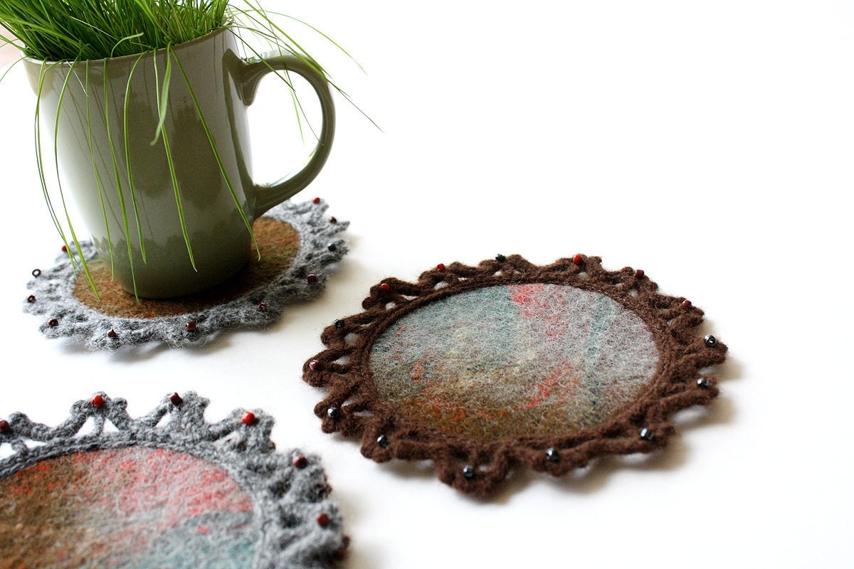 "The same as different"" Wool felted tea coasters - Onstail"