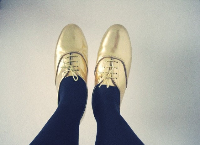 Golden or Silver oxford flats