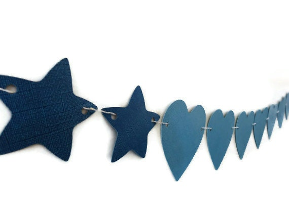 LoveStar Paper Banner Blue Hearts Stars Garland Wall Hanging Room Party Decoration - LoveStar1