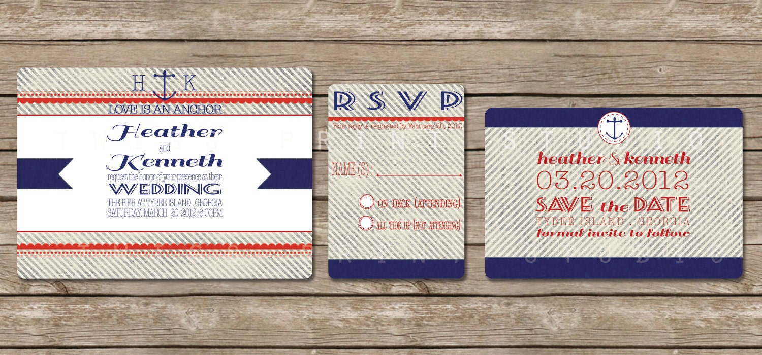 Nautical Wedding Invitation, Anchor
