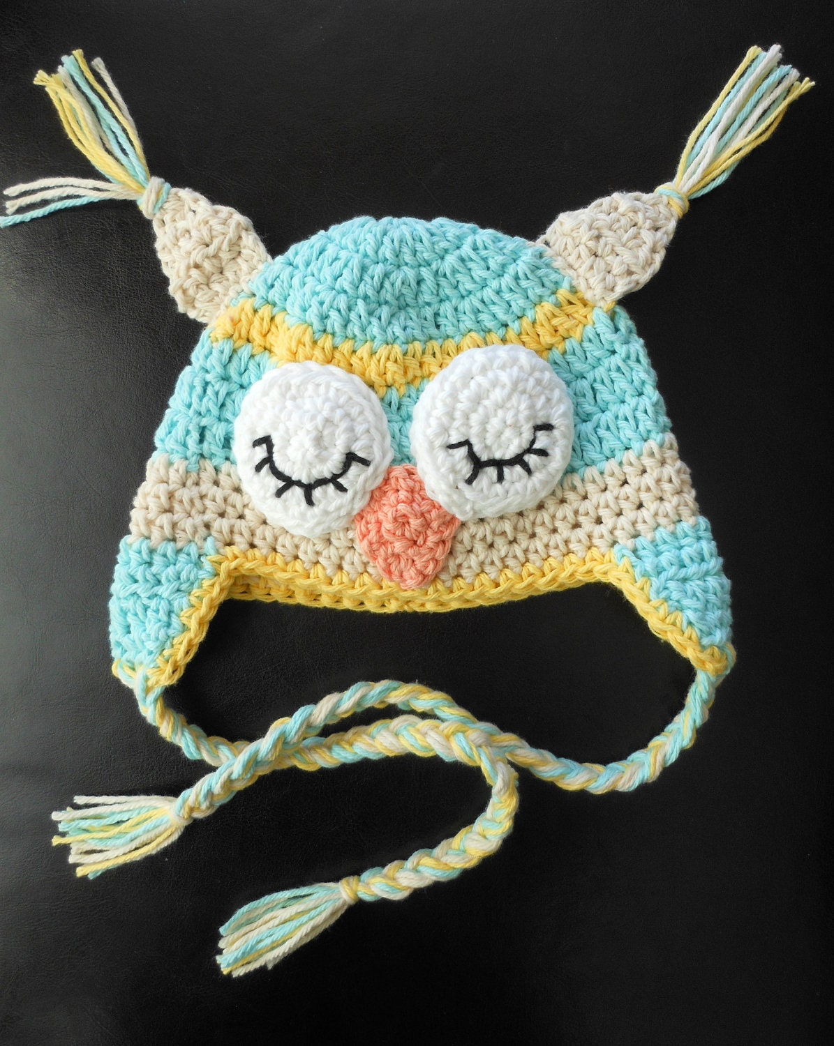 Sleeping Owl Crochet Hat- Lt. Turquoise, Yellow, Ecru w/ Earflaps, Braids, & Ear Tassels. Toddler Size.