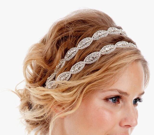 075 - Poppy Double - Crystal Headband, Rhinestone, Wedding, Bridal, Headpiece, tie on, bohemian