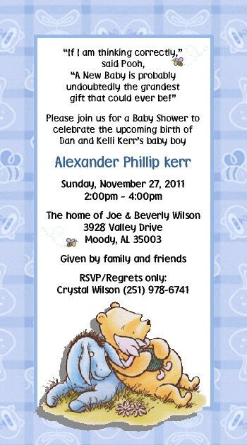 items similar to classic winnie the pooh invitations on etsy