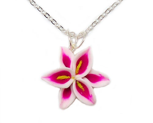 Lily Necklace Jewelry- Pink Flower Pendant, Stargazer Lily - strandedtreasures