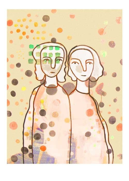 Fine Art print Giclee Best Friends  twin Sisters sepia vintage look  beige cream dots mother daughter - LouisestArt