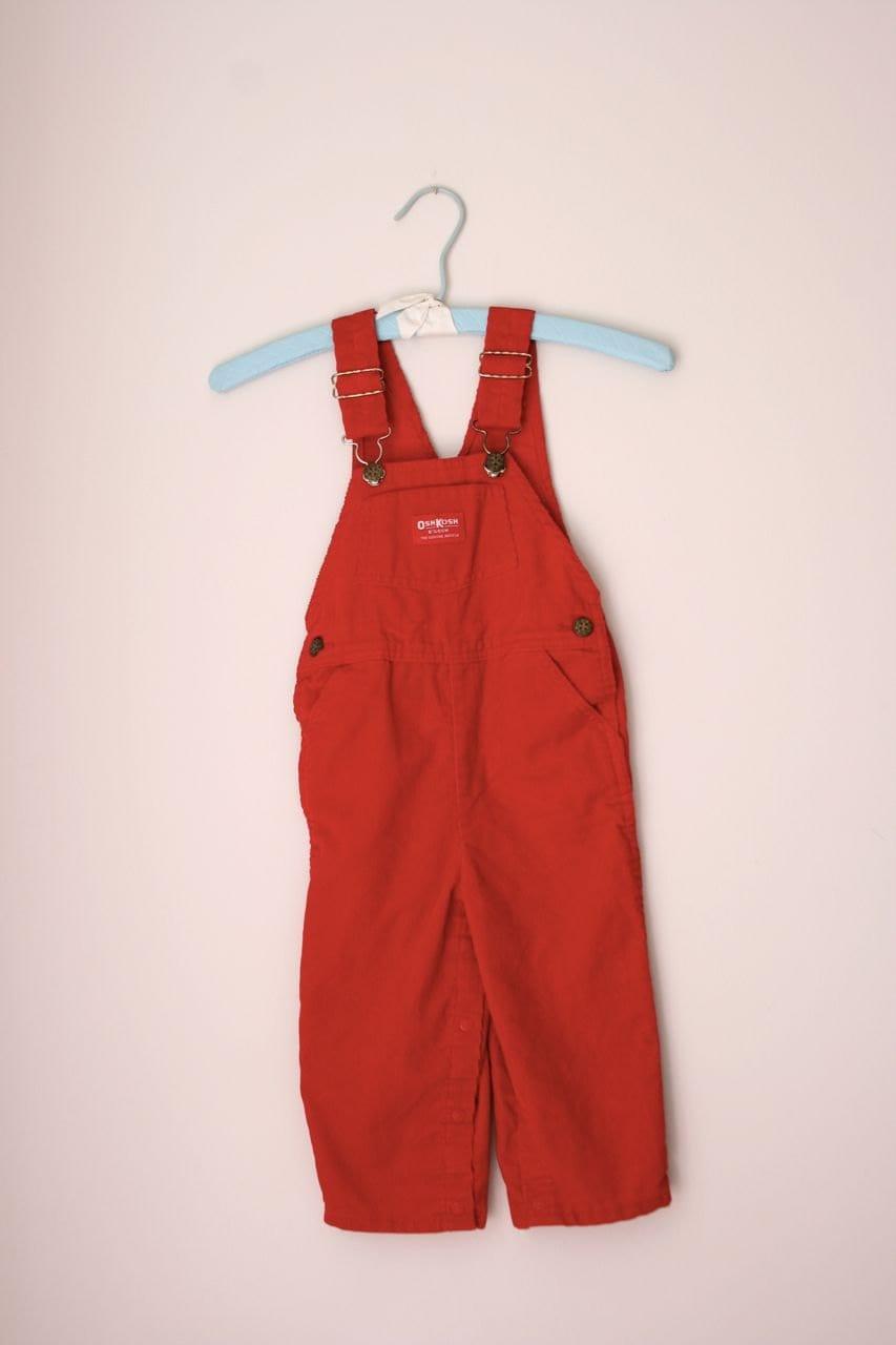 Vintage red corduroy Osh Kosh overalls 3T - fuzzymama