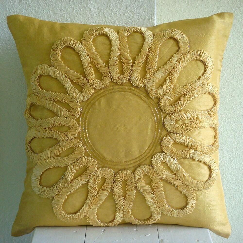 Мы все Blossom - Подушка Шам Обложки - 24x24 дюймов Шелковый Подушка Шам Крышка с атласной лентой Вышивка