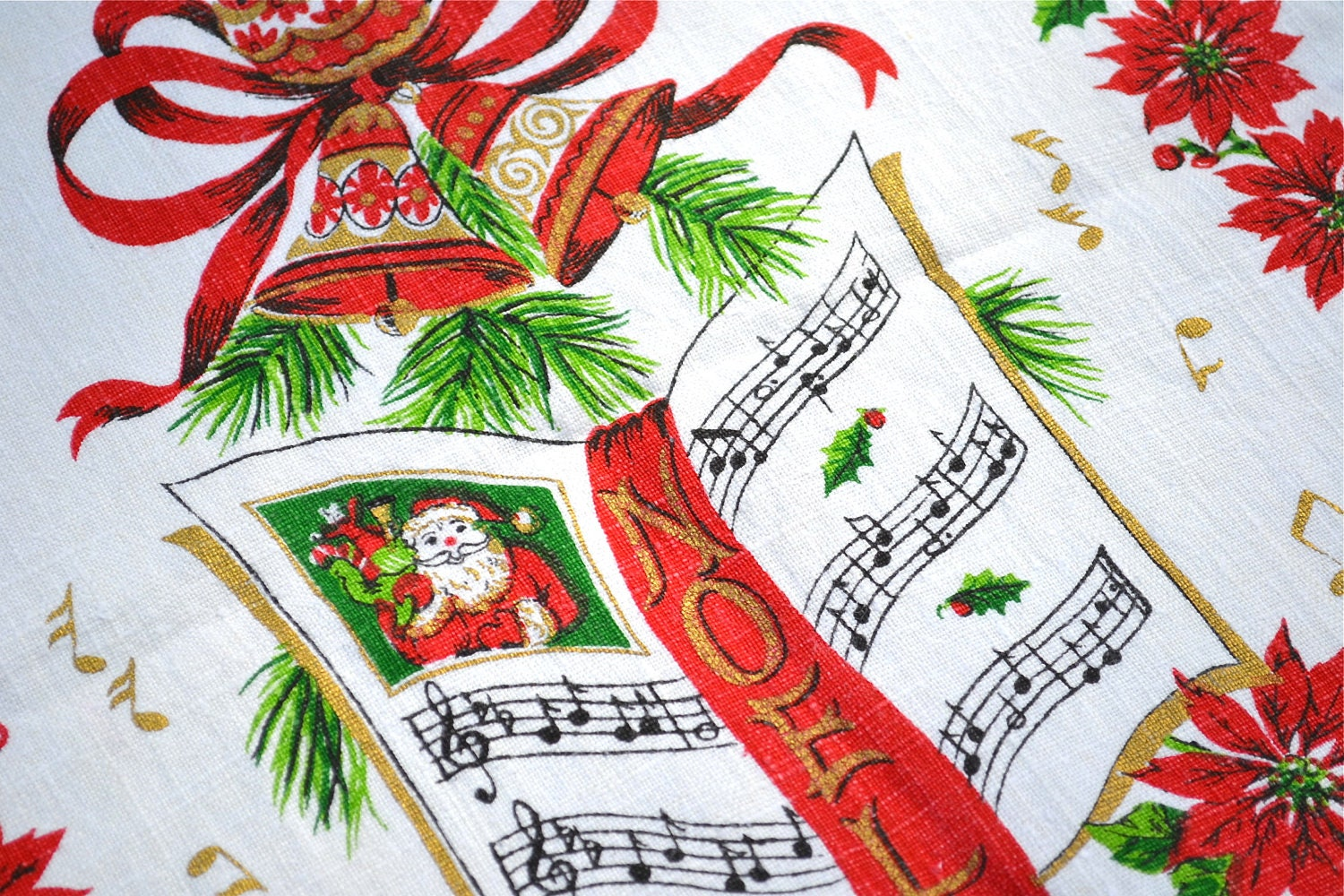 Vintage Christmas Linen Towel - Santa and Poinsettia Noel