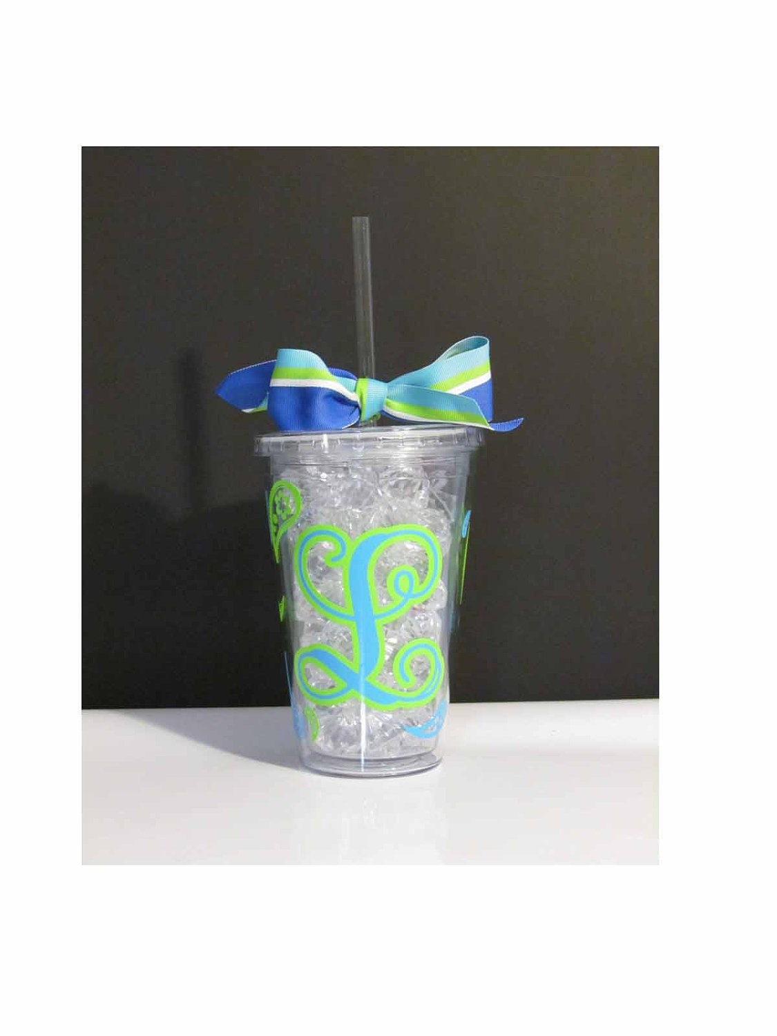 Paisley Initial Acrylic Travel Tumbler CUP