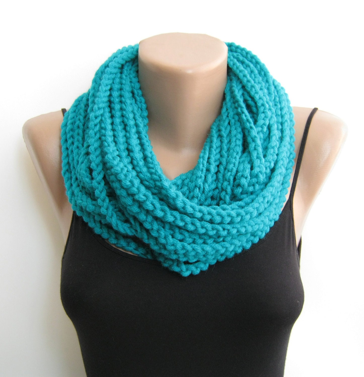 Teal crochet chain scarfcowlneck warmer infinity scarf Cowl Neck Scarves Crochet