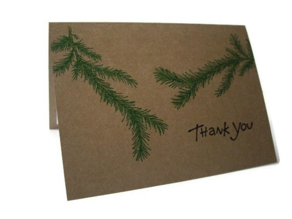 woodland thank you card, christmas thank you card, kraft thank you, masculine thank you, pine branch