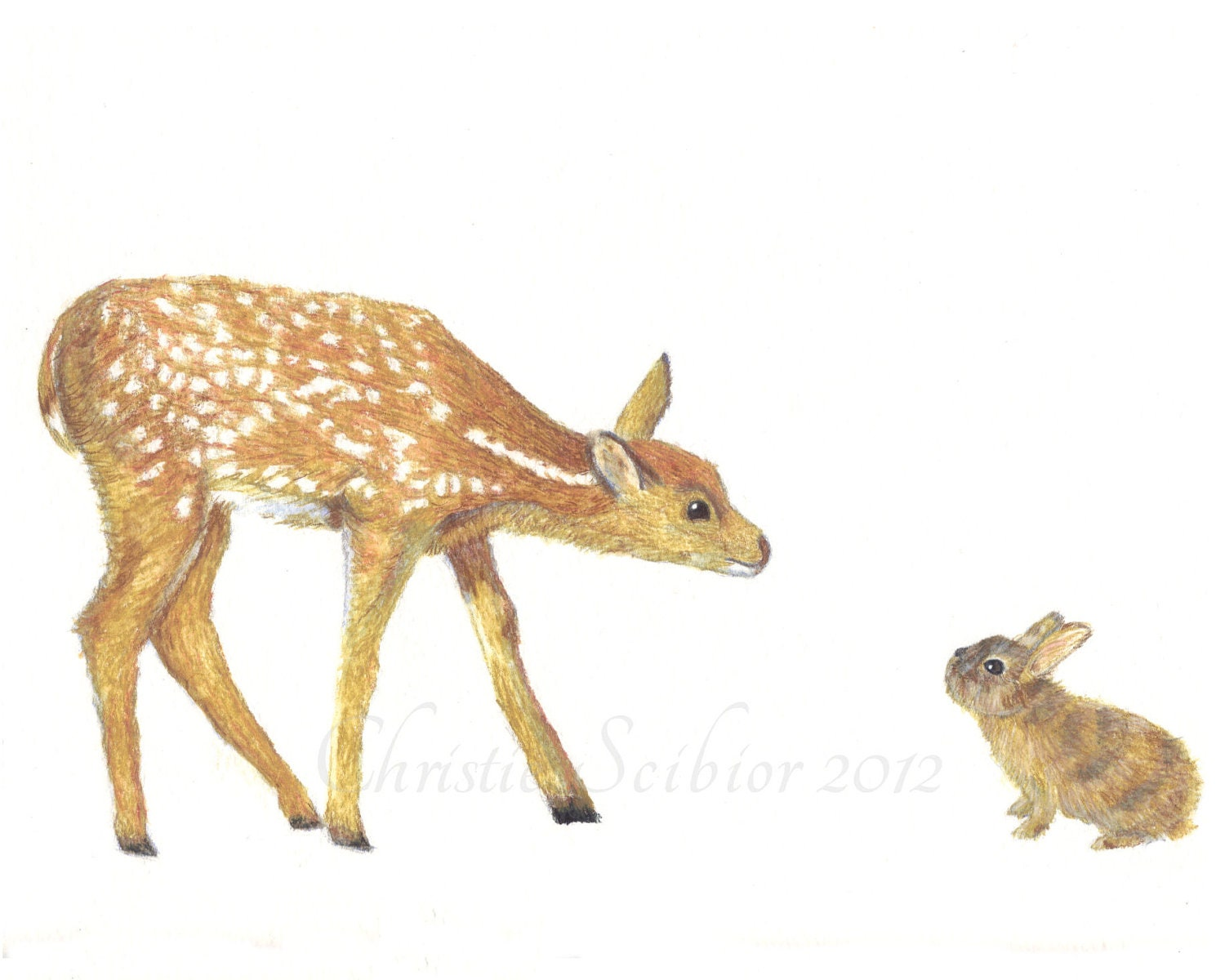 Animal Art Print Deer Fawn & Bunny Rabbit Wildlife Watercolor painting Wall Art Home Decor Childrens room nursery baby 5x7 Archival - ChristieScibior