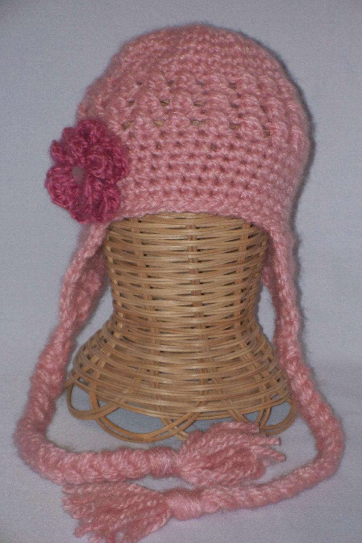 newborn earflap hat, baby hat, pink, dark pink  flower