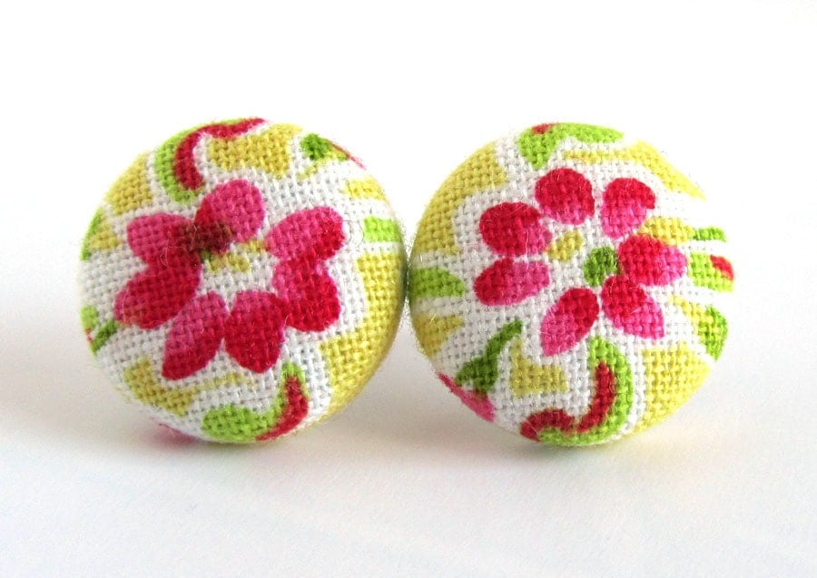 Stud earrings button spring yellow pink white green bright happy