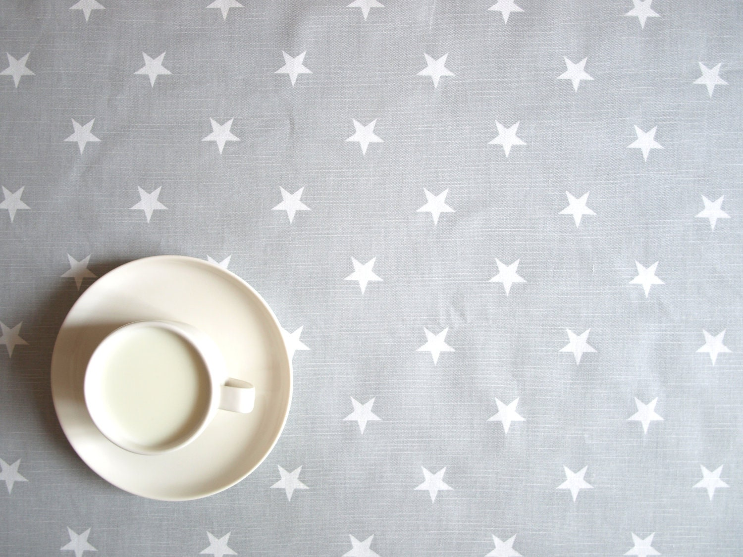 "Tablecloth grey with white stars 37""x 37"" or made to order your size, also napkins, table runner available, with GIFT - Dreamzzzzz"