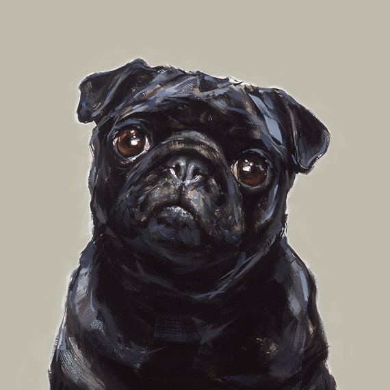 Black Pug Art  print - signed  Ltd. Ed Collectable No.32 - paintmydog