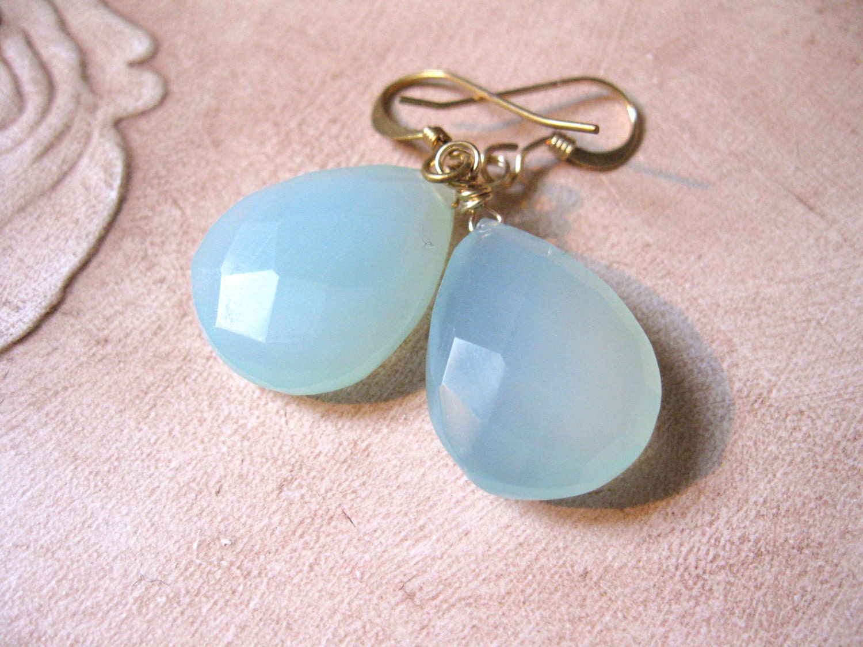 Peruvian Blue Chalcedony Earrings