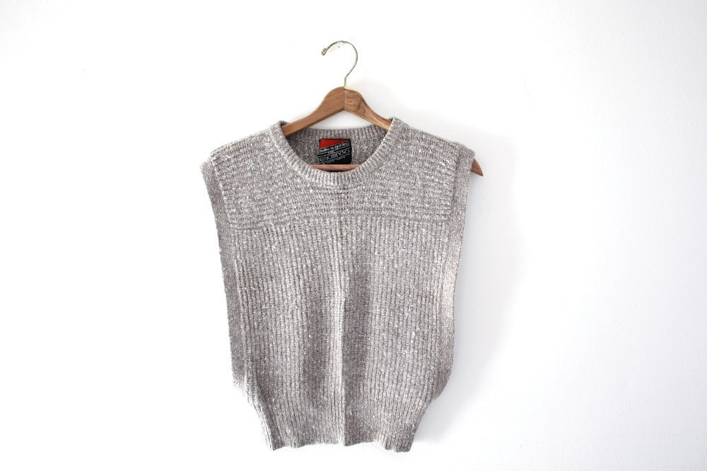 Vintage Knit Sweater Tank 1980s Light Brown Pullover Top Size M - VimVigorVintage