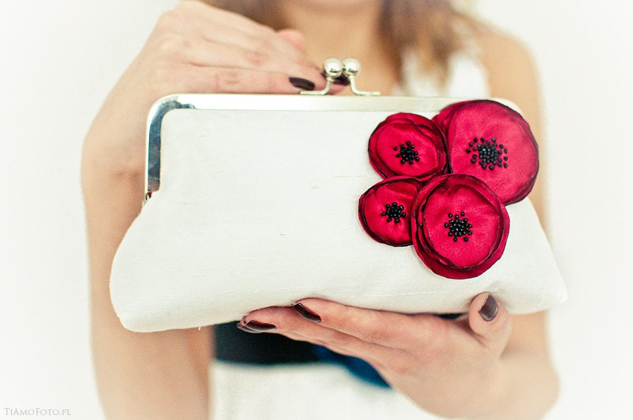 Ivory silk and  poppy flower...beautiful large wedding  purse - AtelierEdytaLoukia